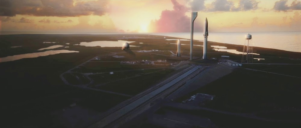 SpaceX crew Big Falcon Rocket (BFR) standing on launch pad
