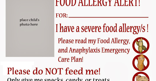 Food Allergy Alert Daycare and School Handout