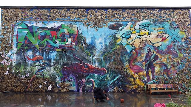 whoopidooings: London Street Art - Meeting of Styles 2017 - Nomadic Community Gardens - Artists - XENZ, Tweshone, Rasmus Balstrøm, Jim Vision, Dr Zadok, NEIST