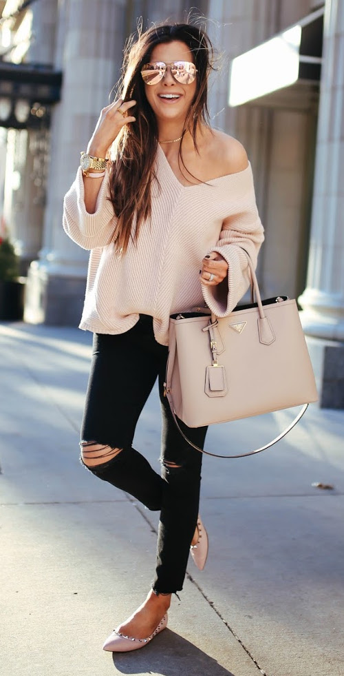 street style outfit with nude details