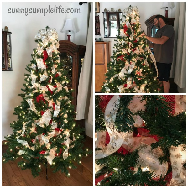 using ribbon to fill Christmas tree