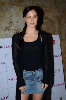 Elli Avram in Denim Mini Skirt at Zubaan Movie Screening