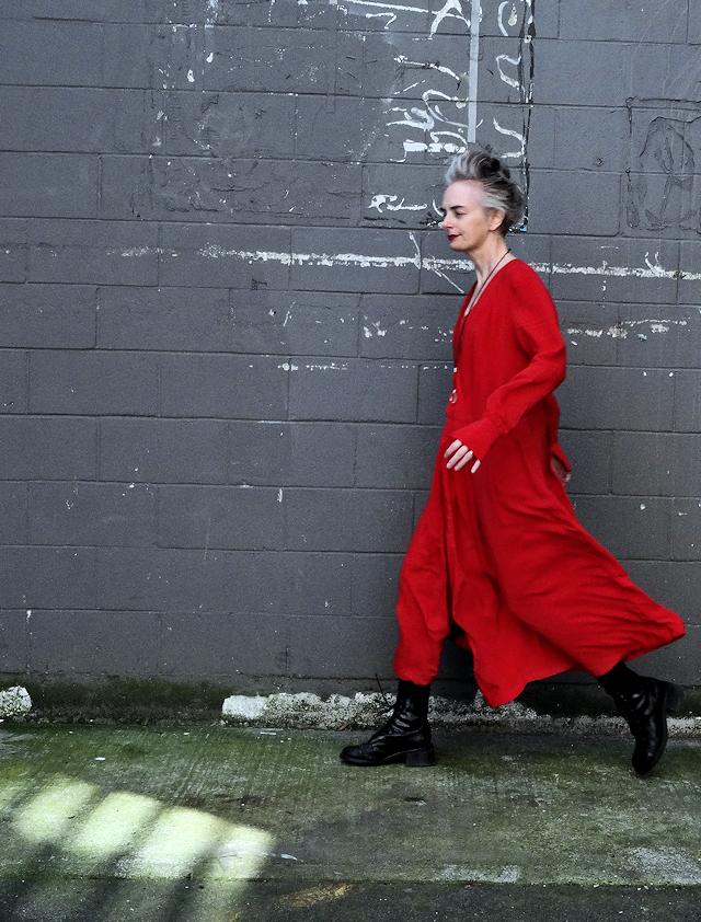 Big red dress, combat boots, Mel Kobayashi, Bag and a Beret