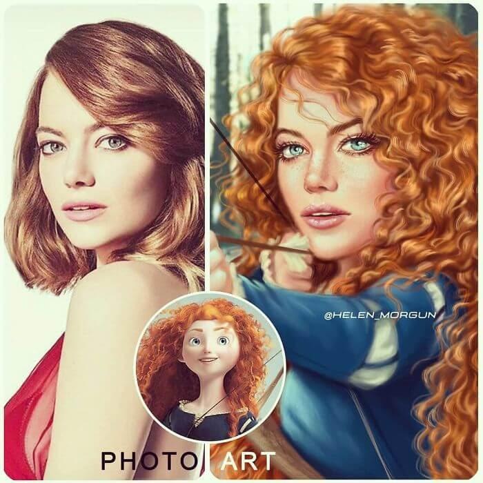 10-Emma-Stone-As-Merida-Helen-Morgun-Celebrities-and-Disney-www-designstack-co