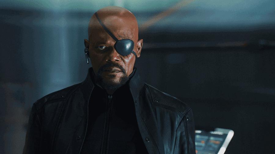Samuel L. Jackson como Nick Fury em cena de filme
