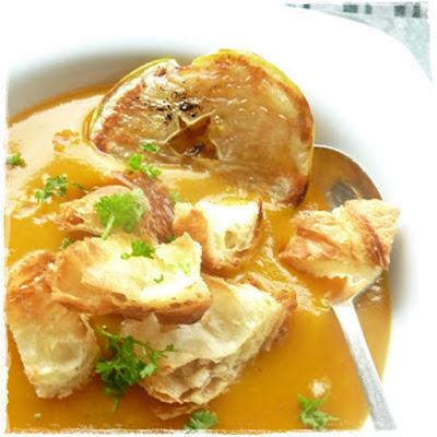homemade soup, croissants, leftover croissants, croissant croutons