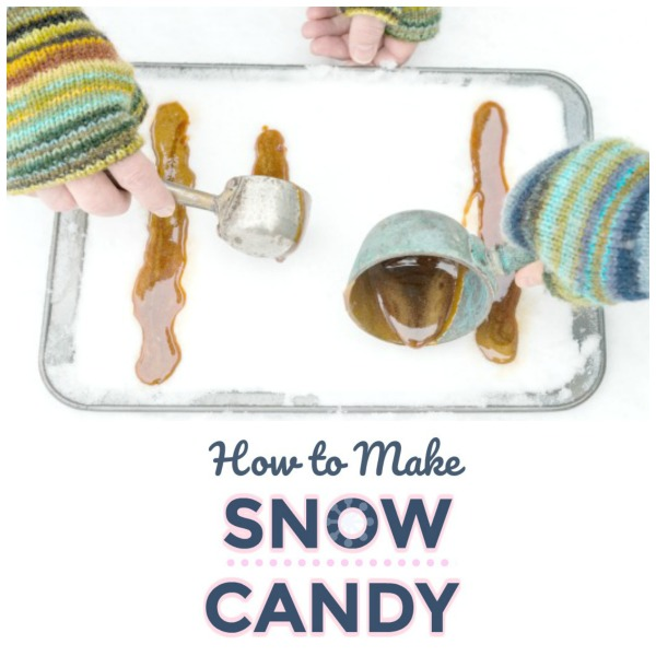 MAKE SNOW CANDY!  A super fun winter activity for kids!  #winteractivitiesforkids #snowcandy #snowrecipe