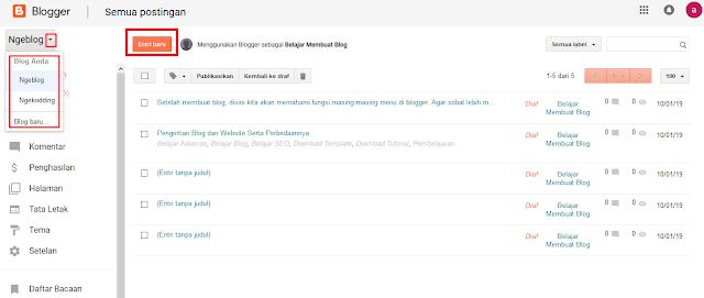 Mengenal Menu-Menu Di Blogger Beserta Fungsinya Dengan Cepat - Daftar Blog Yang Dimiliki Di Blogger