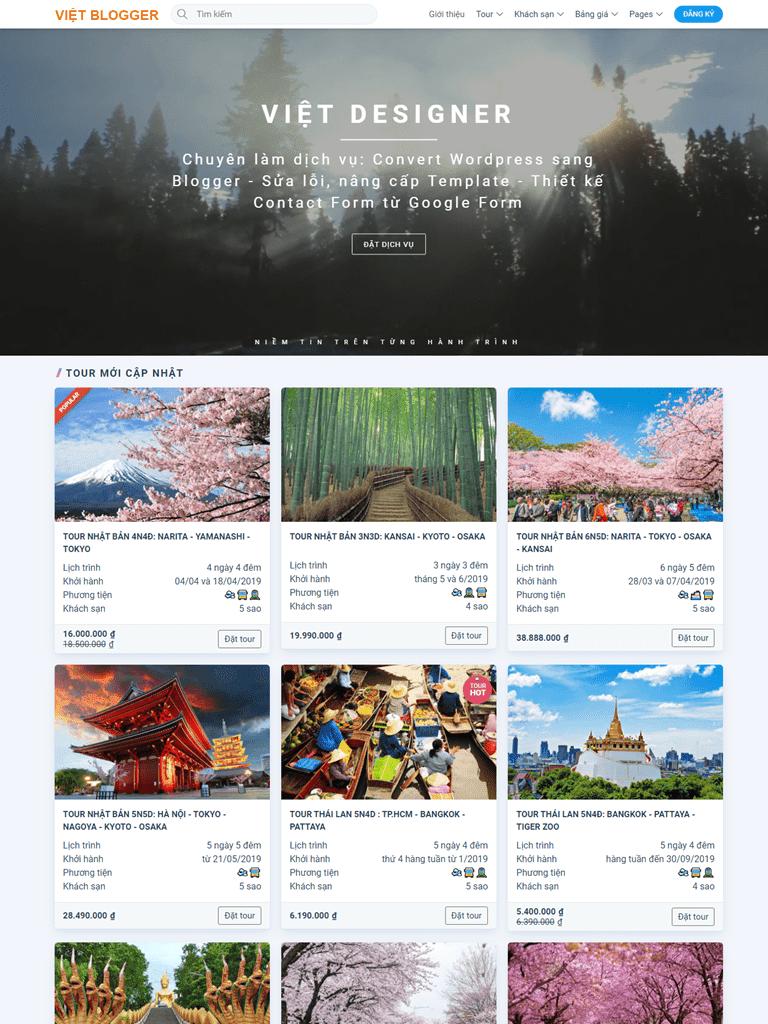 Template blogspot du lịch book tour online