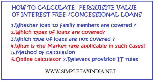 HOW TO CALCULATE PERQUISITE VALUE OF INTEREST FREE /CONCESSIONAL LOANS | SIMPLE TAX INDIA