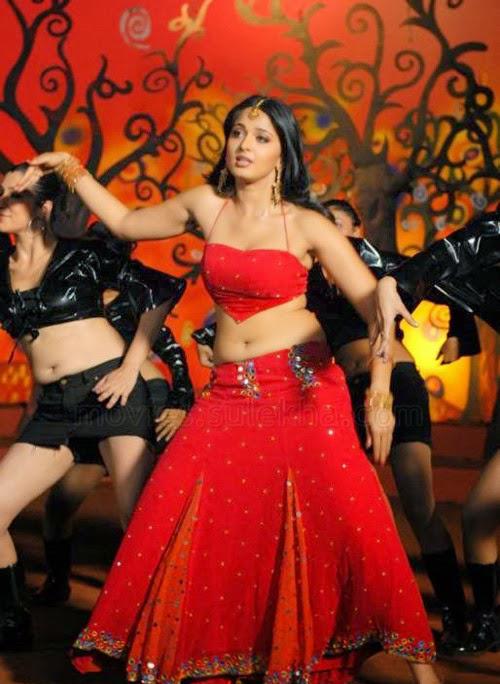 Anushka Shetty sexy navel in red dress, Anushka Shetty hot dance photos