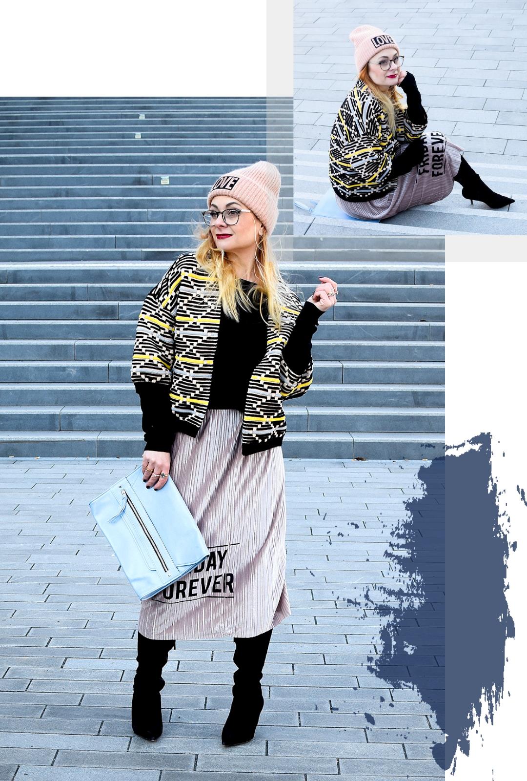 Winter Outfit mit Rock aus Samt, festliche Röcke kombinieren