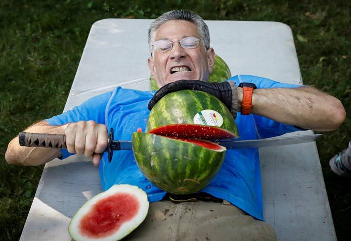 Ashrita Furman, one of the most prolific Guinness World Record Holders, set a new record for cutting watermelons on his own stomach, dealing with 26 watermelons in 1 minute. July 18th. Posted by: Brendan McDermid