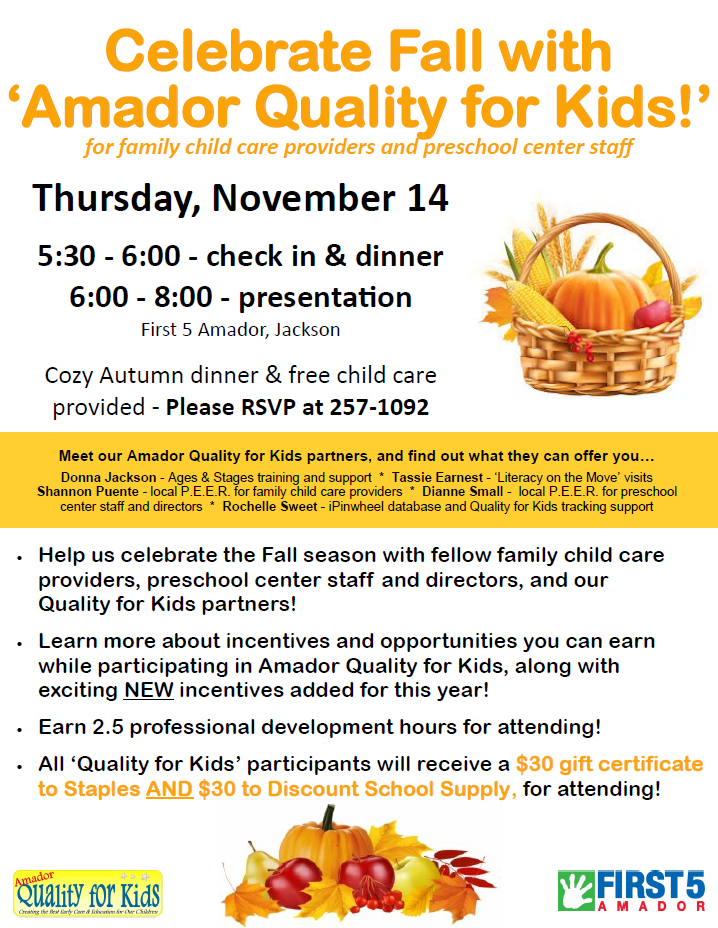 "Celebrate Fall With ""Amador Quality for Kids"" - Thurs Nov 14"