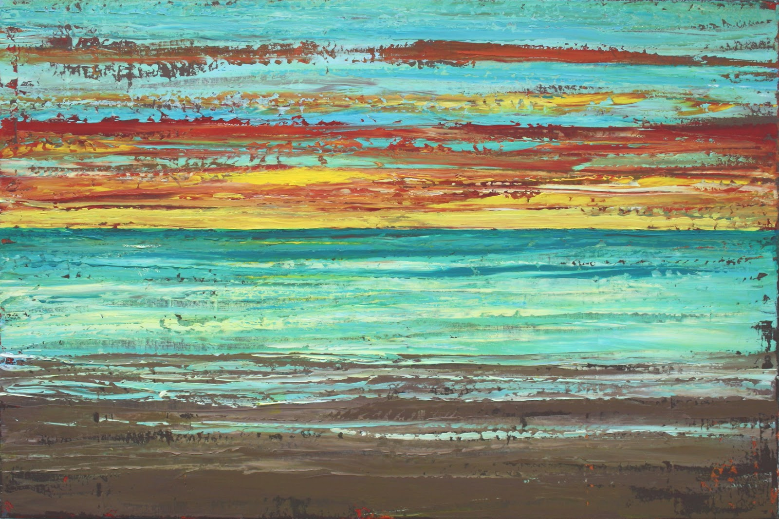 Sage Mountain Studio: Abstract Beach Painting - Sunset Beach