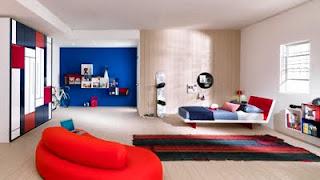 habitación niño rojo azul