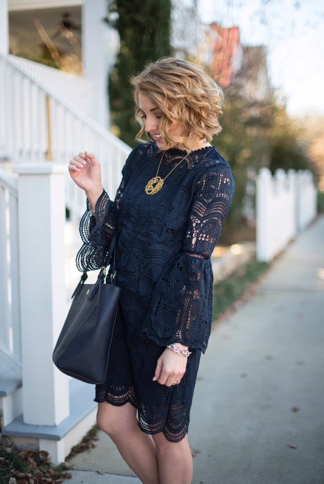 Navy Lace Dress - Something Delightful Blog