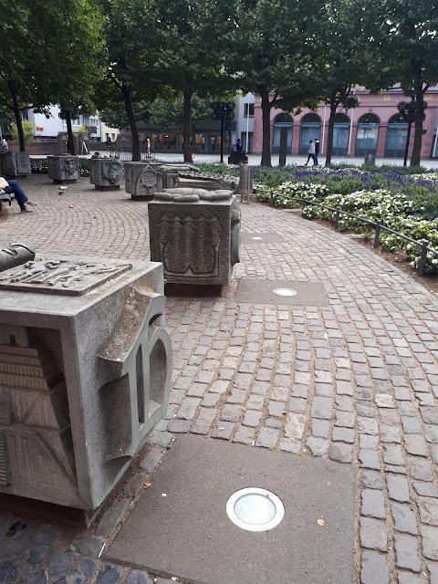 Gutenberg capital letters in front of Gutenberg museum in Mainz