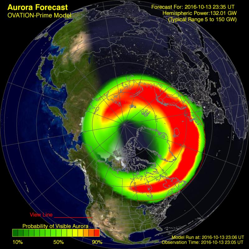 Owal zorzowy według prognozy modelu OVATION nad półkulą północną w nocy z 13 na 14.10.2016 z godz. 01:30 CEST. Credit: OVATION