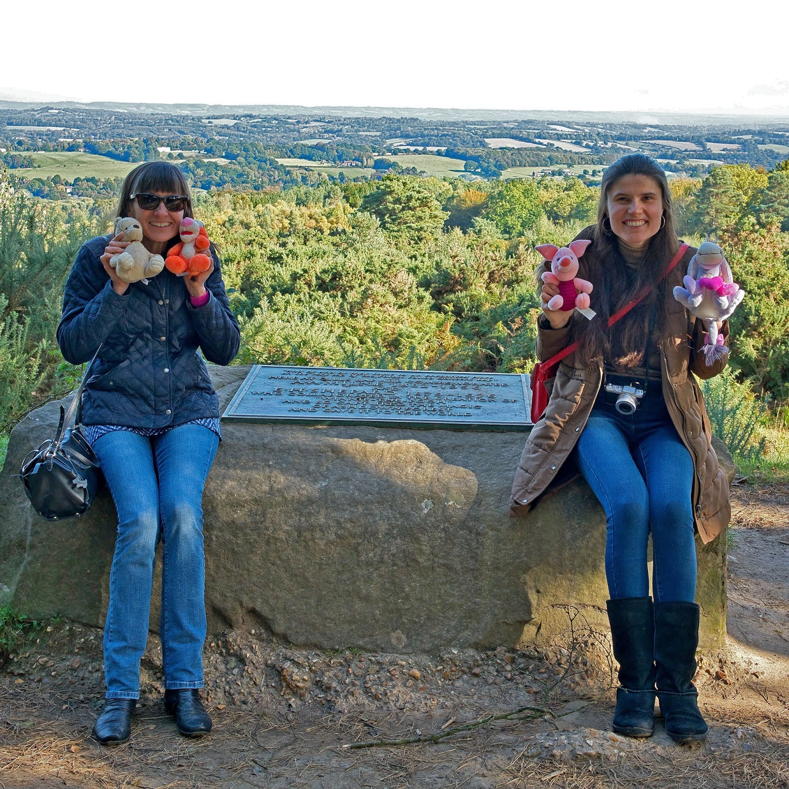 Kat Last and Mum beside the A.A. Milne and E.H. Shepard Memorial, Ashdown Forest