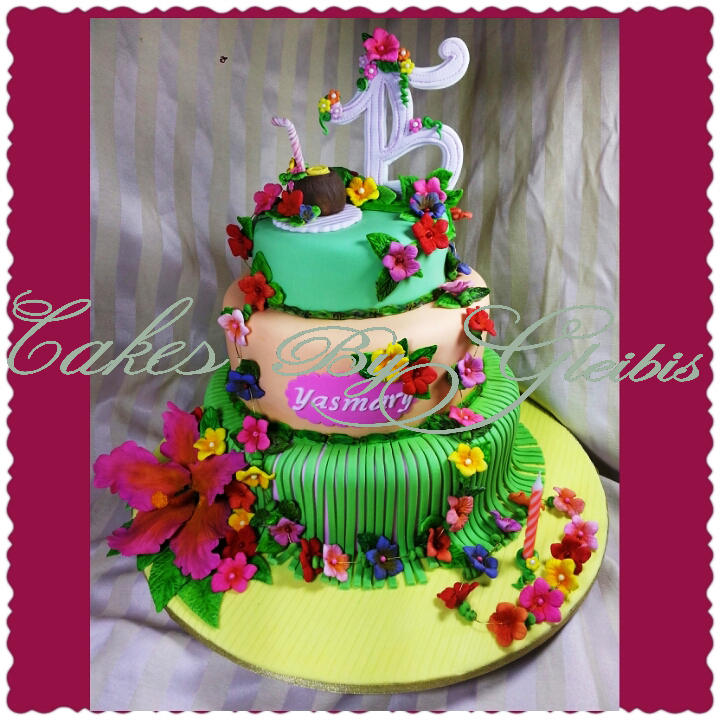 Quinceanera Cake Hawaiian Theme
