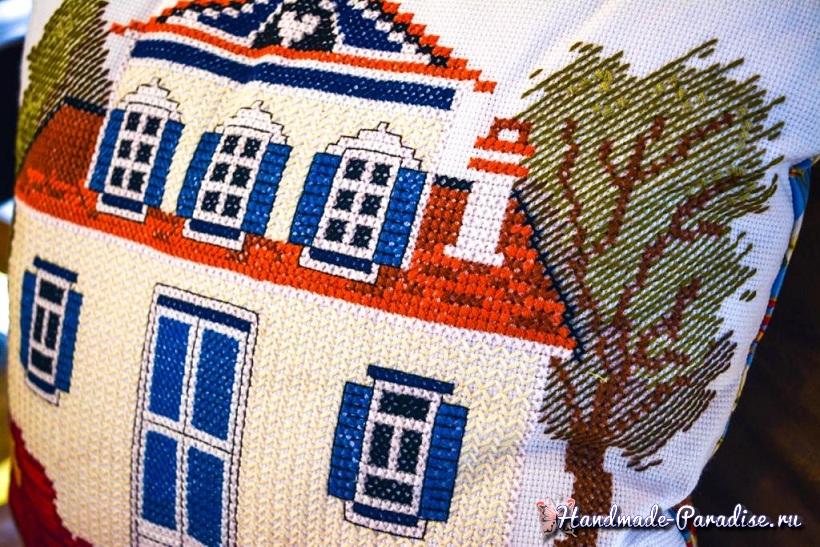 Схема вышивки домика для подушки