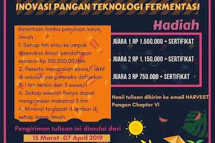 Lomba Karya Tulis Ilmiah Harvest Pangan VI 2019 SMA Sederajat Se-Jabodetabek