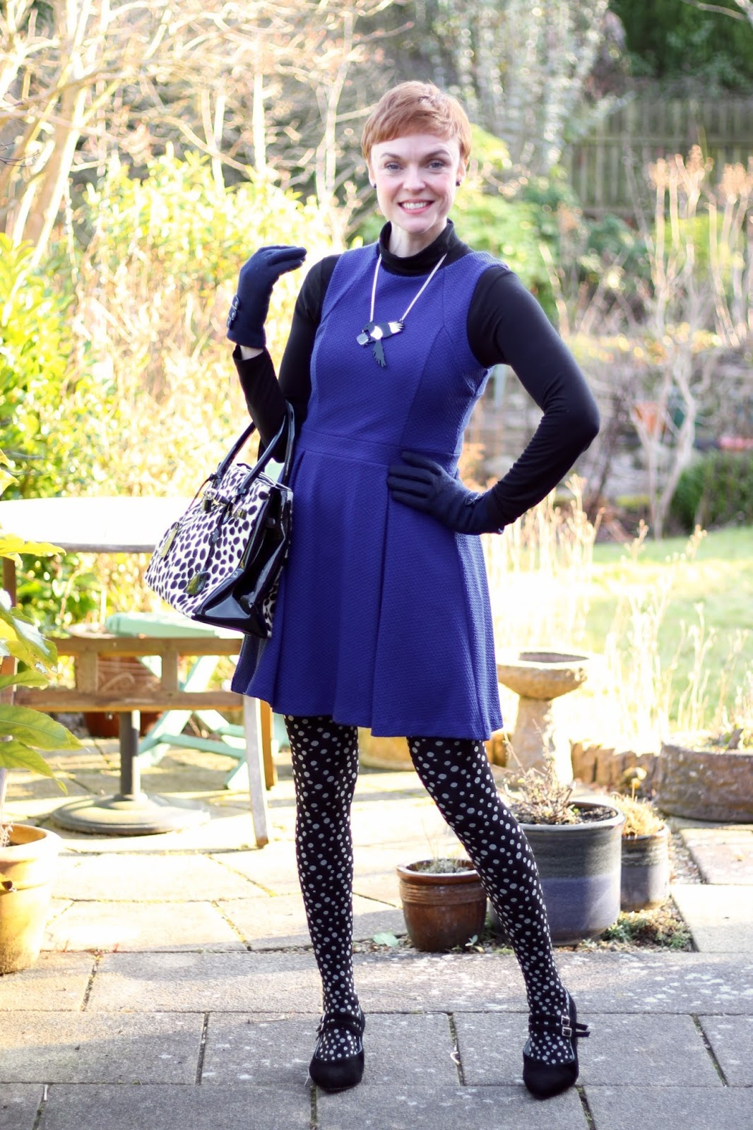 Blue Fit and Flare Dress, Spotty Tights and Mary Janes | Fake Fabulous