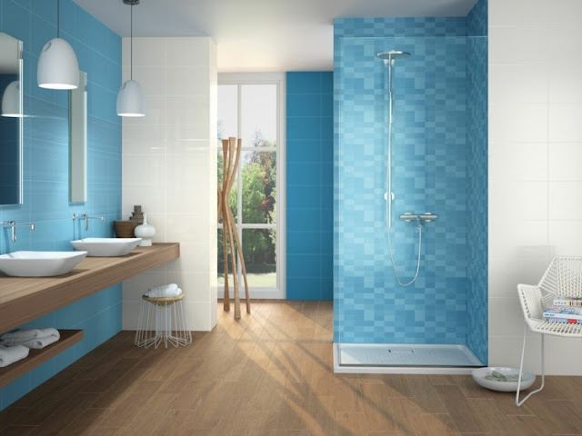 modern Blue bathroom wall tiles with wooden floor