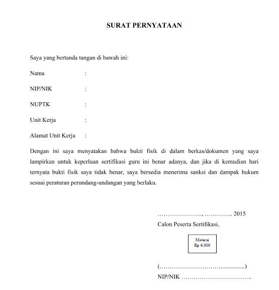Contoh Format Surat Pernyataan Keabsahan Berkas Sisi Edukasi