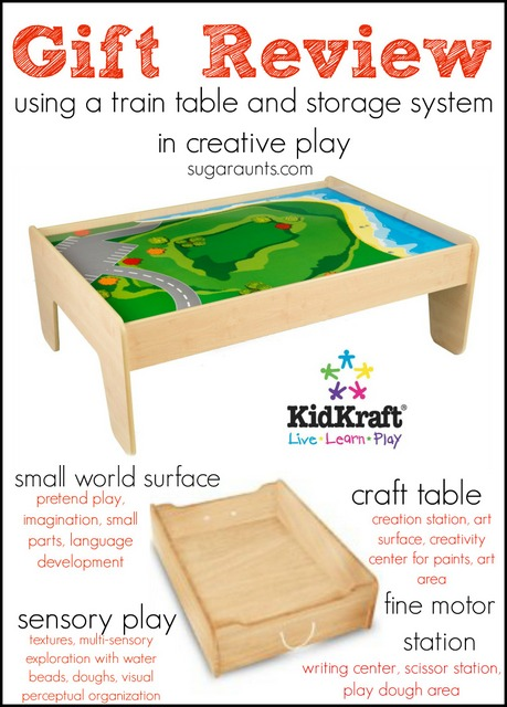 Train Table review for gifts.  Use a train table for so much ore than just train play: fine motor station, craft table, small world surface, art area. We use our train table every day!