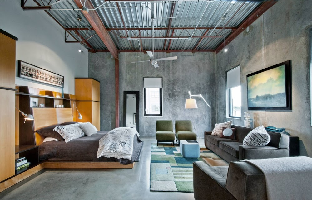 rafter-ceiling-concrete-wall-industrial-bedroom
