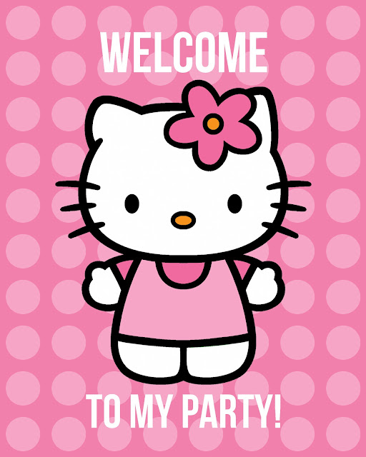 Welcome party guests with this free printable Hello Kitty birthday party poster.