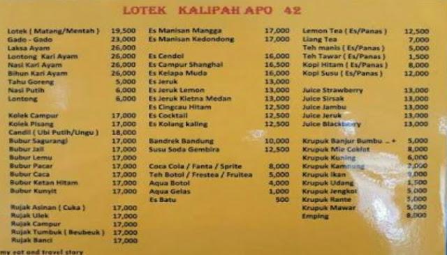 Daftar menu lotek kalipah apo