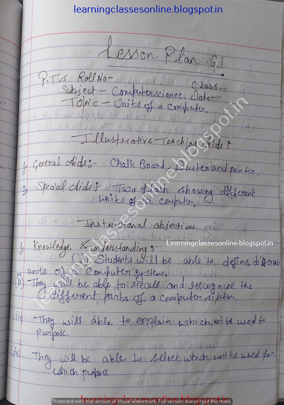 Lesson Plan For Computer Science For B Ed on functioning of different computing units
