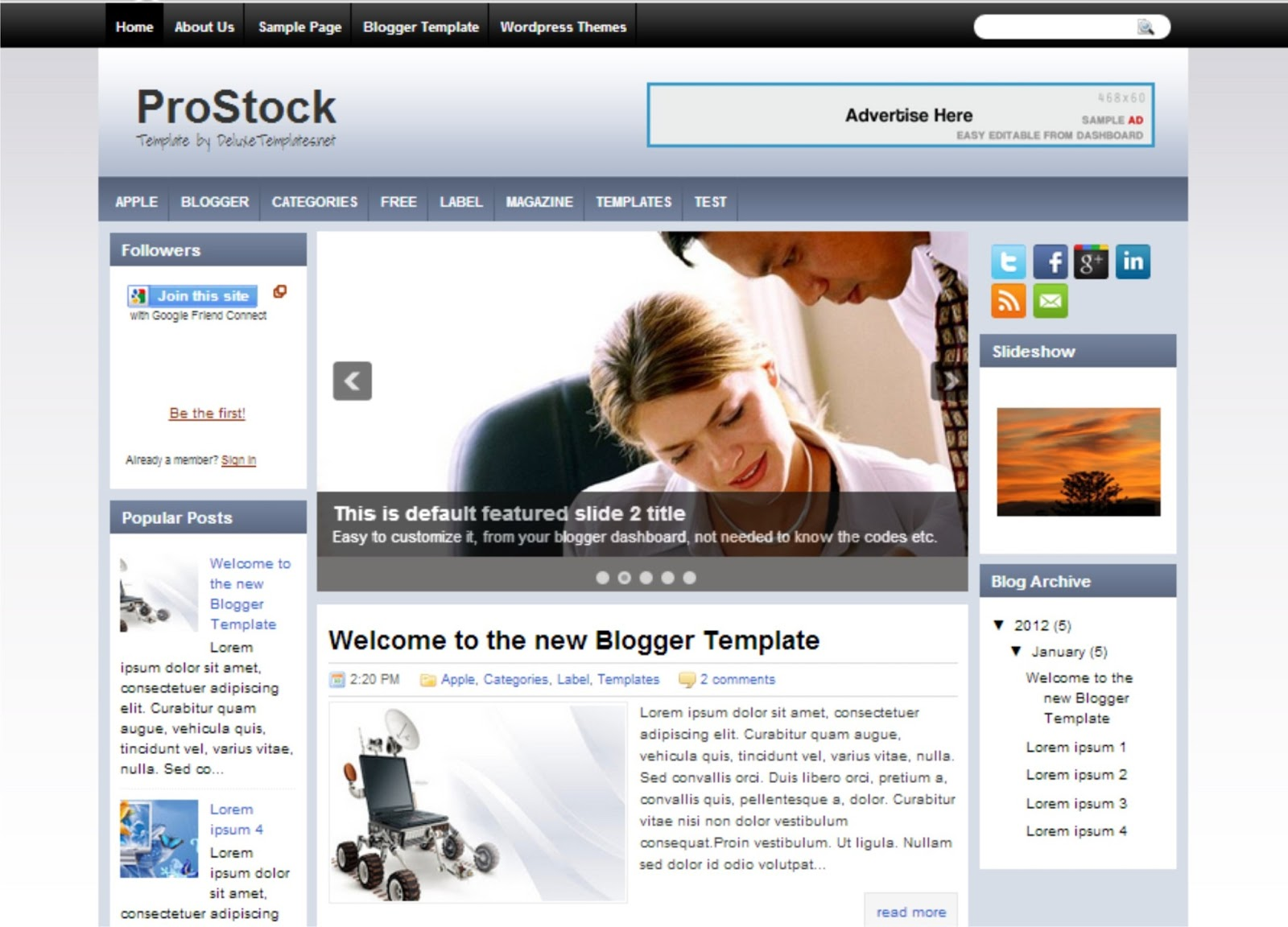 Pro stock blogger template is simple template which has wonderfull performance this template has some features like main menu three column right and left