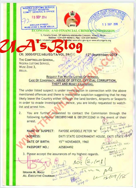 Read Letter Magu Wrote Customs Watch-listing Fayose