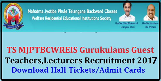 MJP TS BC Gurukulams Teachers, Lecturers Recruitment 2017 Hall Tickets @mjptbcwreis.cgg.gov.in Download Hall Tickets of MJPTBCWREIS Teachers, Junior Lecturers Recruitment 2017 | TS BC Welfare Teachers ,Lecturers Recruitment 2017 Hall Tickets| MJP TS BC Residenttial Schools, Colleges Teachers,Junior Lecturers Recruitment 2017 Hal Tickets | TS BC Gurukulams Teachers, Lecturers Recruitment 2017 Hall Tickets | MJP TS BC Gurukulams Teachers, Lecturers Recruitment 2017 Hall Tickets @mjptbcwreis.cgg.gov.in Mahatma Jyothiba Phule Telangana Backward Classes Welfare Residential Educational Institutions Society (MJPTBCWREIS) Hyderabad had published the Guest Teachers, Lecturers Recruitment for 119 TS BC Residential Schools and 16 Upgraded Junior Colleges for Backward Classes.MJPTBCWREIS invited the application forms from the eligible and interested candidates for recruitment of PGTs, TGTs,PETs,PDs,JLs| mjp-ts-bc-gurukulams-teachers-lecturers-recruitment-2017-hall-tickets-mjptbcwreis.cgg.gov.in/2017/05/mjp-ts-bc-gurukulams-guest-teachers-lecturers-recruitment-2017-hall-tickets-admit-cards.html