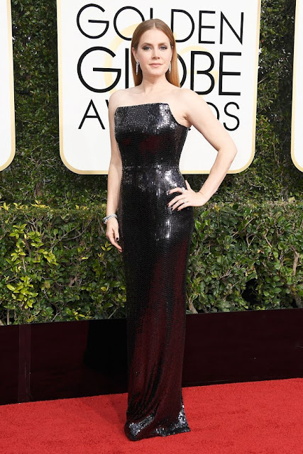 Golden Globes 2017 Amy Adams Wear Black Sequined Dress