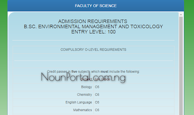 NOUN Admission Requirements - B.Sc. Environmental Management and Toxicology