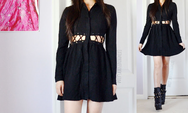 An edgy, grunge-style outfit featuring the Kailee black lace-up long sleeve button-down cutout waist shirt dress from Tobi and black lace-up studded buckled platform booties.