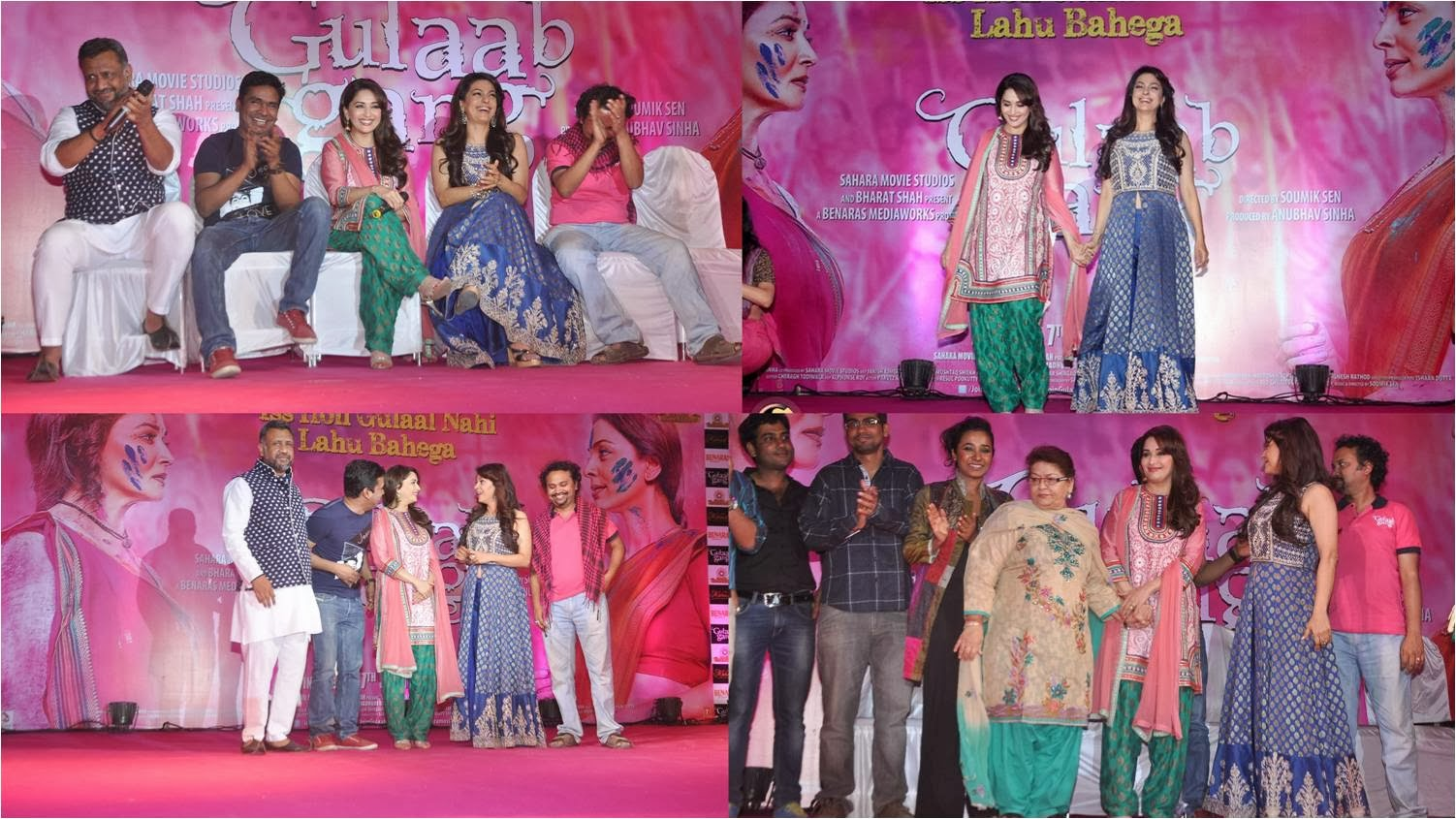 Star studded Gulaab Gang trailer launch saw gorgeous Madhuri, stunning Juhi, renowned choreographer Saroj Khan and the team