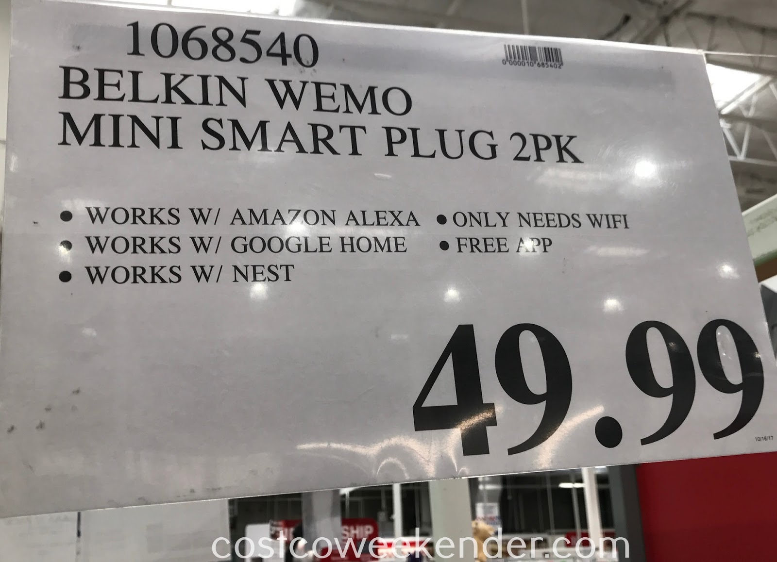 Deal for a 2 pack of Belkin Wemo Mini Wi-Fi Smart Plugs at Costco
