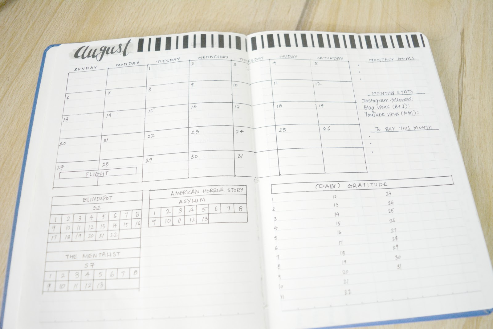 Bullet Journal monthly spread august
