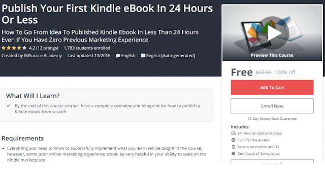 [100% Off] Publish Your First Kindle eBook In 24 Hours Or Less| Worth 39,99$