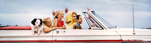 Classic Colorama of a Family In A Convertible once on display in Old New York at Grand Central Station
