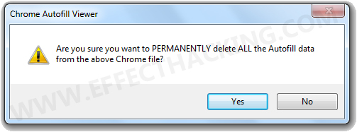 Chrome Autofill Viewer Dialog Box Snapshot
