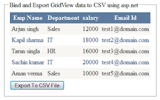 bind and export gridview data to CSV file sing asp.net