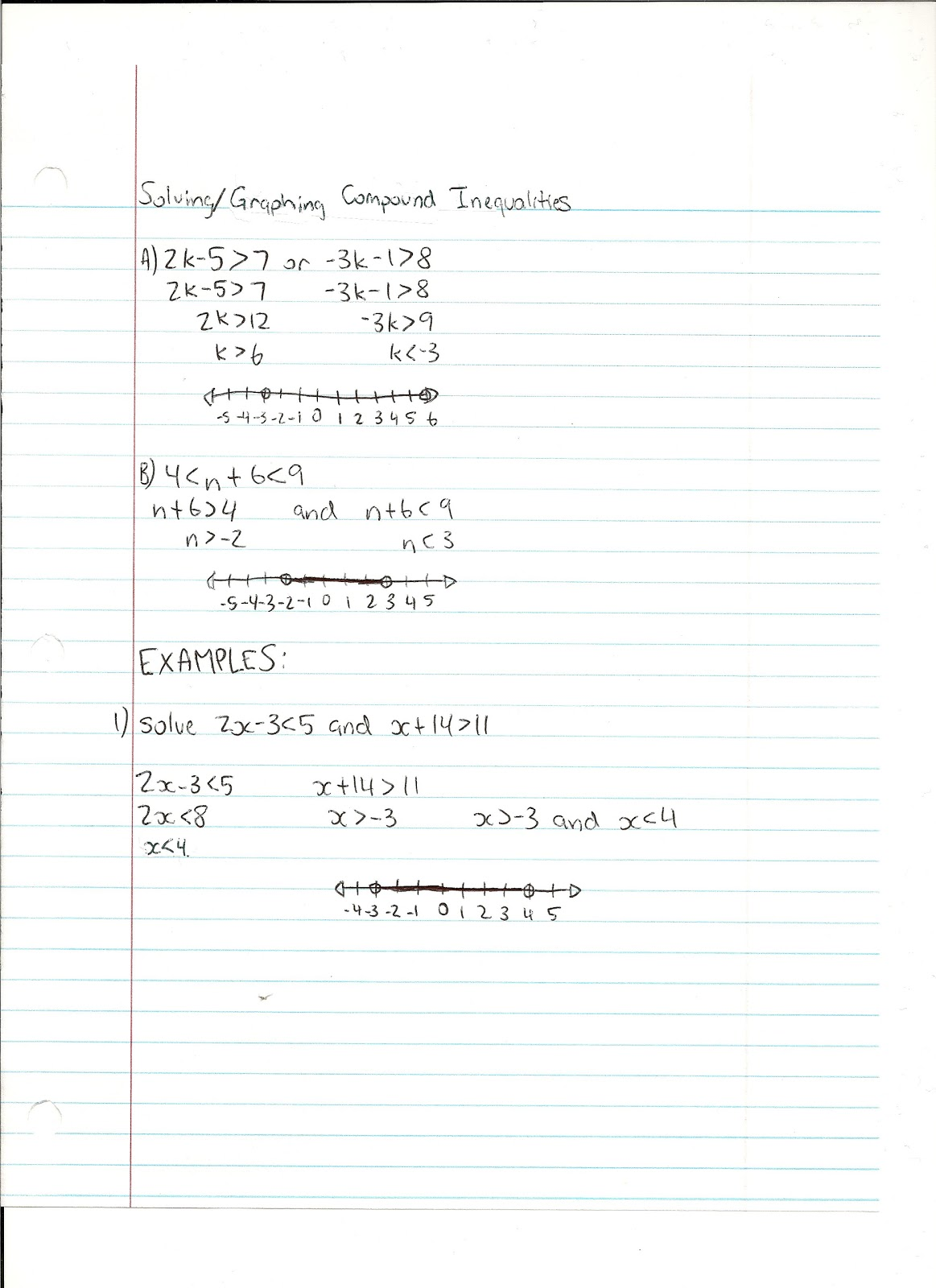 Math Notes Solving Graphing Compound Inequalities