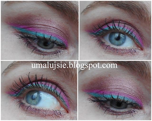 Kolorowy makijaż z turkusową i różową kreską